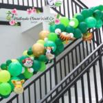 DIY Organic Balloon Arch – Green, Gold & Foil Animals