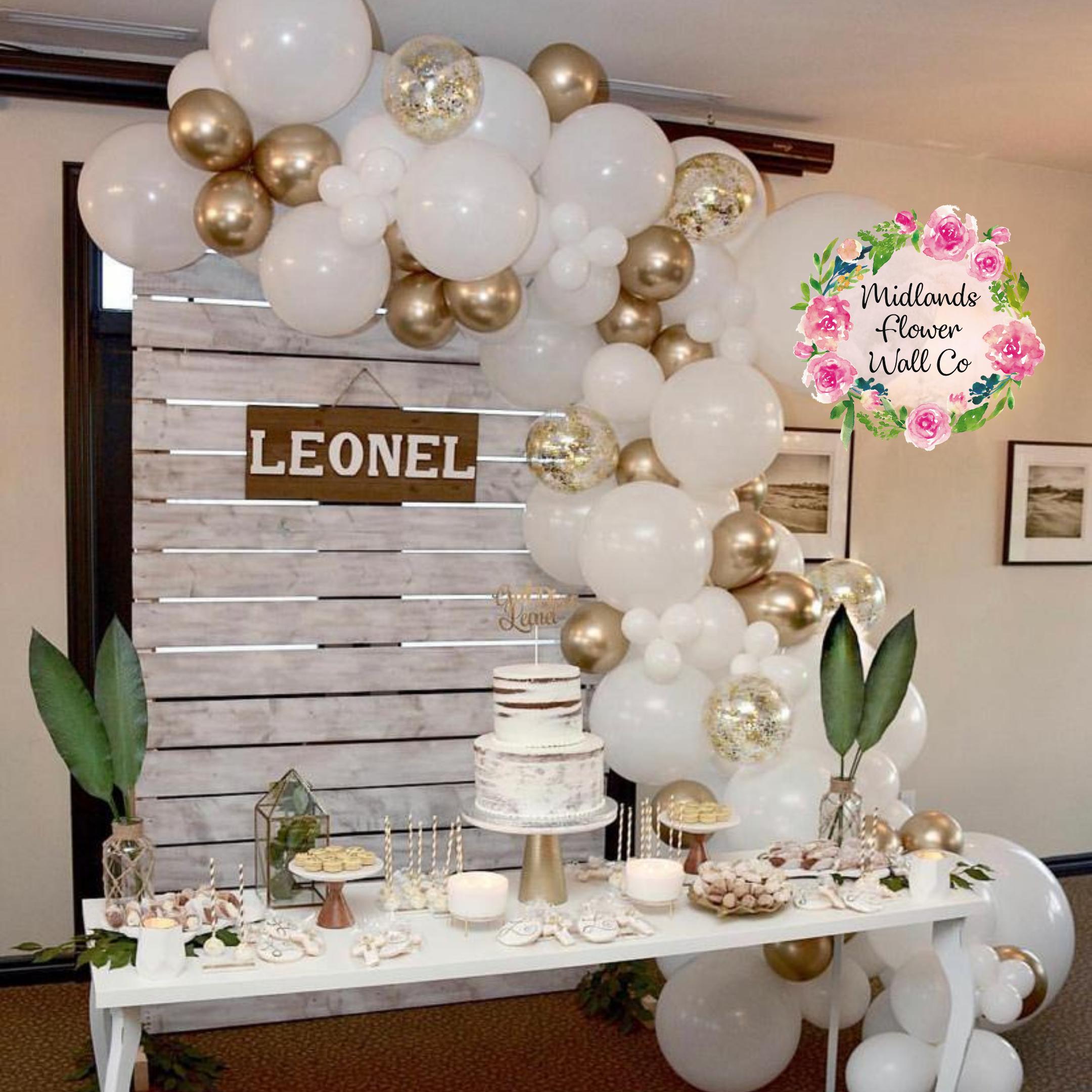 DIY Organic Balloon Arch – White & Gold